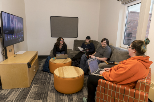 students sitting on chairs and couch and studying